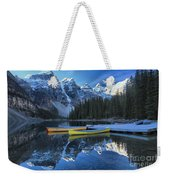 Canoes Under The Peaks Weekender Tote Bag