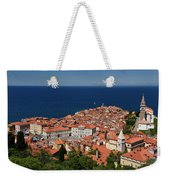 Cape Madonna At Point Of Piran Slovenia On Blue Adriatic Sea Wit Weekender Tote Bag