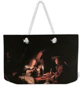 Card Players At Candlelight Weekender Tote Bag