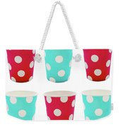 Card With Red And Blue Paper Disposable Glass In Polka Dot Isolated On White With Copy Space Weekender Tote Bag