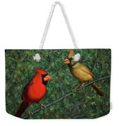 Cardinal Couple Weekender Tote Bag by James W Johnson