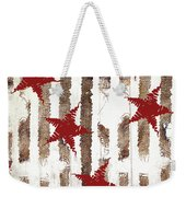 Cardinal Holiday Burlap Star Pattern Weekender Tote Bag