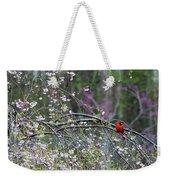 Cardinal In Flowering Tree Weekender Tote Bag