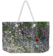 Cardinal In Flowering Tree Weekender Tote Bag