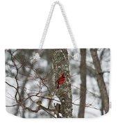 Cardinal In Snow Storm Weekender Tote Bag