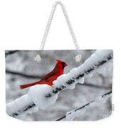 Cardinal In The Snow Weekender Tote Bag