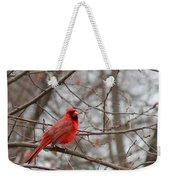 Cardinal In The Winter Weekender Tote Bag