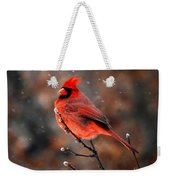 Cardinal On A Snowy Day Weekender Tote Bag