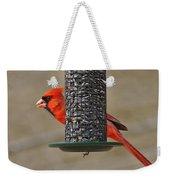 Cardinal On Feeder Weekender Tote Bag