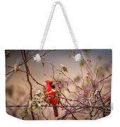 Cardinal With A Mouthful Of Hips Weekender Tote Bag