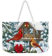 Cardinals Christmas Feast Weekender Tote Bag by Crista Forest