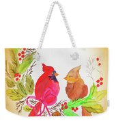 Cardinals Painted By Linda Sue Weekender Tote Bag
