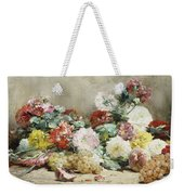 Carnations, Roses, Grapes And Peaches Weekender Tote Bag
