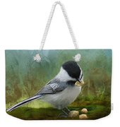 Carolina Chickadee Feeding Weekender Tote Bag