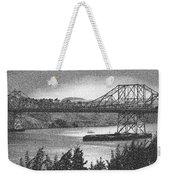 Carquinez Bridge Pointilized B And W Weekender Tote Bag