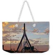 Cars On The Move- Lenny Zakim Bridge Sunset Weekender Tote Bag
