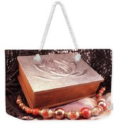 Carved Box In Aluminum. Silver Box And Red Necklace Weekender Tote Bag