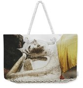 Carved Stone Buddha Statue Wat Temple Complex In Old Siam Kingdom, Ayutthaya, Thailand Weekender Tote Bag