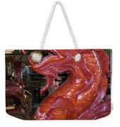 Carved Wood Dragon With Ball In Mouth Weekender Tote Bag