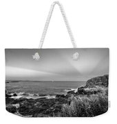 Castle Rock Beach Sunset Sunrays Marblehead Ma Black And White Weekender Tote Bag