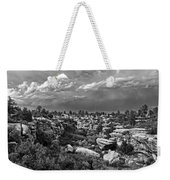 Castlewood Canyon And Storm - Black And White Weekender Tote Bag