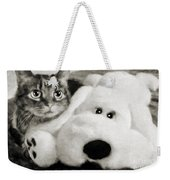 Cat And Dog In B W Weekender Tote Bag