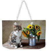 Cat And Sunflowers Weekender Tote Bag by Nailia Schwarz