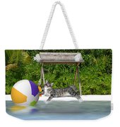 Cat At The Beach Weekender Tote Bag