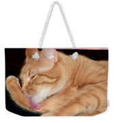 Cat Cleaning At Sunset Weekender Tote Bag