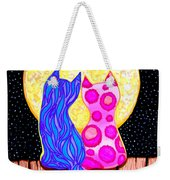 Cat Couple Full Moon Weekender Tote Bag