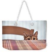 Cat Hiding Under The Table Weekender Tote Bag