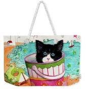 Cat In A Pail Weekender Tote Bag