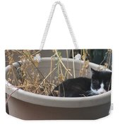 Cat In Flower Pot. Weekender Tote Bag