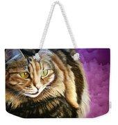 Cat In Purple Background Weekender Tote Bag