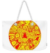 Cat Mandala Yellow And Red Weekender Tote Bag