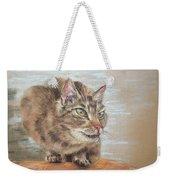 Cat Sitting On Lookout Weekender Tote Bag