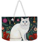 Cat Under The Christmas Tree Weekender Tote Bag
