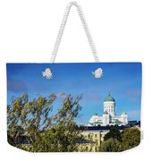 Cathedral Landmark And Central Helsinki View In Finland Weekender Tote Bag