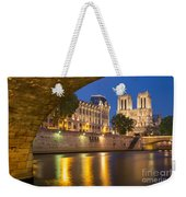 Cathedral Notre Dame And River Seine - Paris Weekender Tote Bag