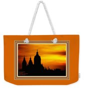 Cathedral Silhouette Sunset Fantasy L A With Decorative Ornate Printed Frame. Weekender Tote Bag