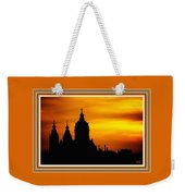Cathedral Silhouette Sunset Fantasy L B With Decorative Ornate Printed Frame. Weekender Tote Bag