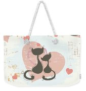 Cats In Love, Romantic Decorative Seamless Pattern Weekender Tote Bag