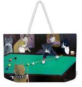 Cats Playing Pool Weekender Tote Bag by Gail Eisenfeld