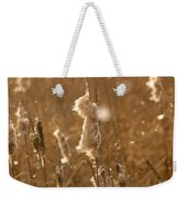 Cattails In Snowstorm 3 Weekender Tote Bag