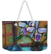 Cattleya Orchid And Frog By The Window Weekender Tote Bag