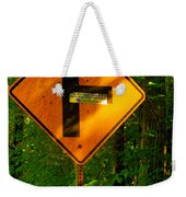 Caution T Junction Road Sign Weekender Tote Bag
