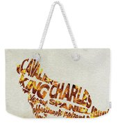 Cavalier King Charles Spaniel Watercolor Painting / Typographic Art Weekender Tote Bag