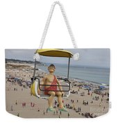 Caveman Above Beach Santa Cruz Boardwalk Weekender Tote Bag
