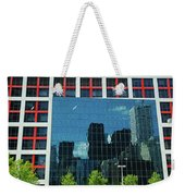 Cbc Building Tv Screen Of Downtown Highrises Weekender Tote Bag