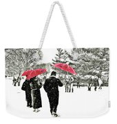 Central Park Snow And Red Umbrellas Weekender Tote Bag